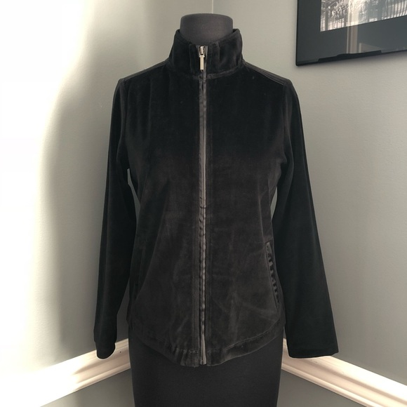 NWT! Charter Club Black Velour Zip-Up